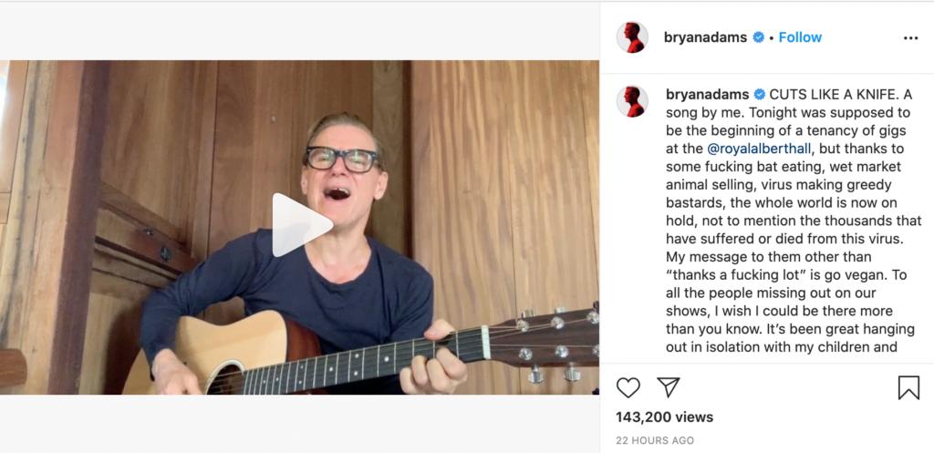 Bryan Adams Instagram Post